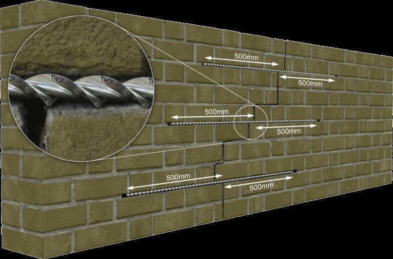 Voorbeeld scheurherstel bakstenen muur